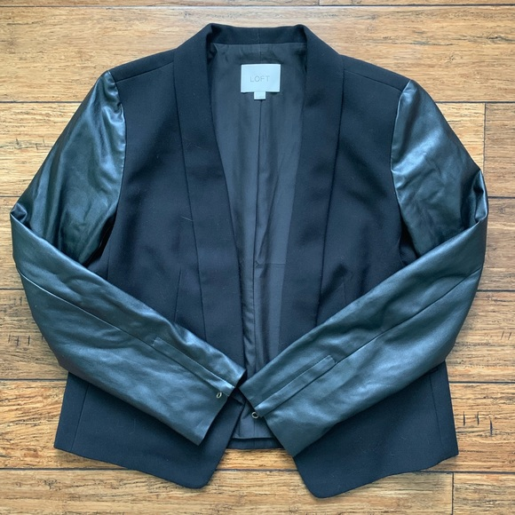 LOFT Jackets & Blazers - Black Mixed Material Stylish Jacket Blazer